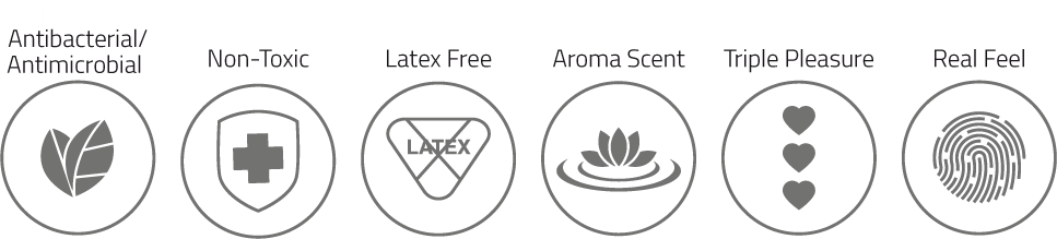 Antibacterial-antimicrobial. Non-toxic. Latex Free. Aroma Lingox. Triple Pleasure. Real Feel.